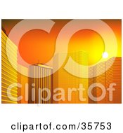 Clipart Illustration Of Orange Sunset Light Reflecting Off Of Tall City Skyscrapers