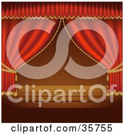 Clipart Illustration Of Red Stage Curtains Pulled To The Sides Over An Empty Wooden Stage