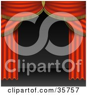 Clipart Illustration Of Open Red Stage Curtains Pulled To The Side Of An Empty Stage