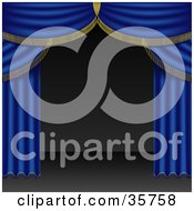 Clipart Illustration Of Open Blue Stage Curtains Pulled To The Side Of An Empty Stage