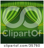 Clipart Illustration Of Green Stage Curtains Pulled To The Sides Over An Empty Wooden Stage