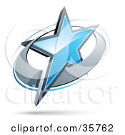Clipart Illustration Of A Pre Made Logo Of A Blue Star In A Chrome Circle by beboy #COLLC35762-0058