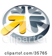 Clipart Illustration Of A Pre Made Logo Of A Yellow Arrow Standing Out In A Circle Of Chrome Arrows by beboy