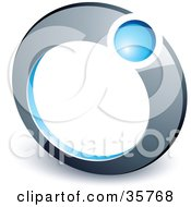 Clipart Illustration Of A Pre Made Logo Of A Blue Ball In A Chrome Ring by beboy