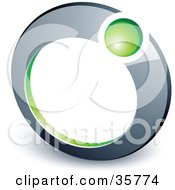 Clipart Illustration Of A Pre Made Logo Of A Green Ball In A Chrome Ring by beboy