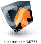 Clipart Illustration Of A Pre Made Logo Of An Orange Arrow On A Tilted Black Cube