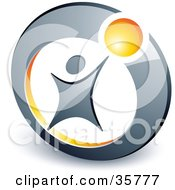 Clipart Illustration Of A Pre Made Logo Of A Person Reaching Up To A Yellow Ball In A Circle by beboy