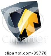 Pre Made Logo Of A Yellow Arrow On A Tilted Black Cube