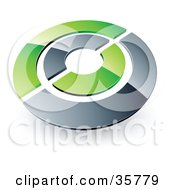 Clipart Illustration Of A Pre Made Logo Of A Chrome And Green Target Or Circles by beboy