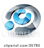 Clipart Illustration Of A Pre Made Logo Of A Chrome And Blue Copyright Symbol by beboy