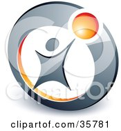 Clipart Illustration Of A Pre Made Logo Of A Person Reaching Up To An Orange Ball In A Circle by beboy