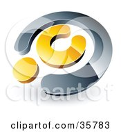 Clipart Illustration Of A Pre Made Logo Of A Chrome And Yellow Copyright Symbol by beboy