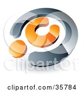 Clipart Illustration Of A Pre Made Logo Of A Chrome And Orange Copyright Symbol by beboy