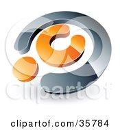 Pre-Made Logo Of A Chrome And Orange Copyright Symbol