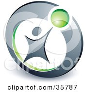 Clipart Illustration Of A Pre Made Logo Of A Person Reaching Up To A Green Ball In A Circle by beboy #COLLC35787-0058