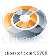 Clipart Illustration Of A Pre Made Logo Of A Chrome And Orange Target Or Circles by beboy