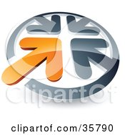 Clipart Illustration Of A Pre Made Logo Of An Orange Arrow Standing Out In A Circle Of Chrome Arrows by beboy