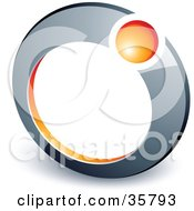 Clipart Illustration Of A Pre Made Logo Of An Orange Ball In A Chrome Ring by beboy