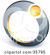 Clipart Illustration Of A Pre Made Logo Of A Yellow Ball In A Chrome Ring by beboy