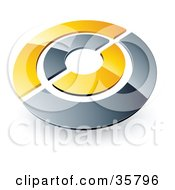 Clipart Illustration Of A Pre Made Logo Of A Chrome And Yellow Target Or Circles by beboy