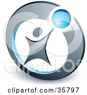 Clipart Illustration Of A Pre Made Logo Of A Person Reaching Up To A Blue Ball In A Circle by beboy #COLLC35797-0058