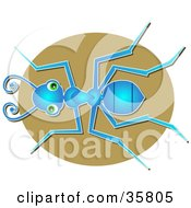 Clipart Illustration Of A Blue Worker Or Sugar Ant With Green Eyes Looking Upwards
