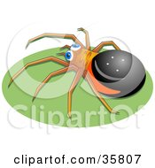 Clipart Illustration Of A Black Brown And Red Spider With Blue Eyes Crawling On A Green Oval