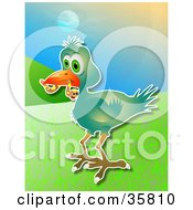 Clipart Illustration Of A Green Bird Carrying A Scared Worm In Its Beak On A Hilly Background by Prawny