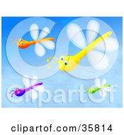 Group Of Purple Orange Yellow And Green Dragonflies Flying In A Blue Sky