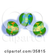 Clipart Illustration Of Three Orange Blue And Yellow Frogs Hanging Out On Lilypads