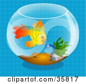 Clipart Illustration Of A Goldfish In A Bowl Preparing To Eat A Scared Little Worm by Prawny