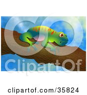 Clipart Illustration Of A Cute Colorful Tree Frog Clinging To A Branch Over A Sky Background