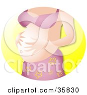 Pregnant Caucasian Woman In A Pink Bra And Skirt Rubbing Her Big Belly