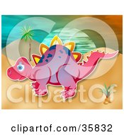 Clipart Illustration Of A Pink Stegosaur Dinosaur With White Spikes And Purple Spots In A Prehistoric Landscape