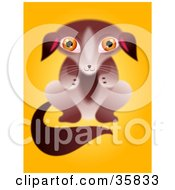 Clipart Illustration Of An Adorable Furry Brown Puppy Begging