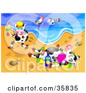 Clipart Illustration Of Three Dairy Cows On Vacation Swimming Running And Sun Bathing On A Warm Sunny Beach