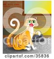 Poster, Art Print Of Shopping Orange Kitty Cat Wearing Lipstick And Carrying A Purse On Her Paw
