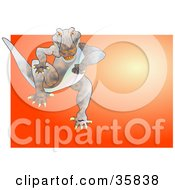 Clipart Illustration Of A Mad Gator Or Dinosaur Running Forward by Prawny