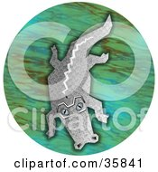 Gray Gator Floating In A Pond