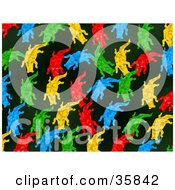 Red Blue Green And Yellow Alligators On A Black Background