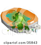 Giant Green Gator Crawling Out Of A Stadium