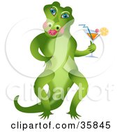 Flirty Female Alligator Standing On Her Hind Legs And Holding A Cocktail