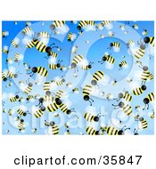 Clipart Illustration Of A Crazy Crowd Of Busy Honeybees Flying In A Blue Sky