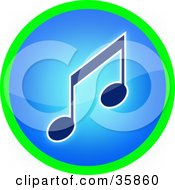 Green Ring Around A Blue Music Note Icon Button