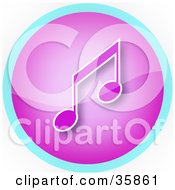 Purple Music Note Icon Button With Blue Trim