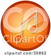 Clipart Illustration Of A Shiny Orange Music Note Icon Button