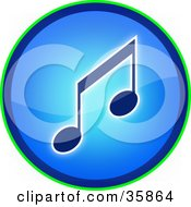 Blue Music Note Icon Button With A Thin Green Ring