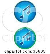 Set Of Two Blue Music Icon Buttons With Music Notes