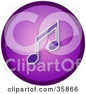Clipart Illustration Of A Shiny Purple Music Note Icon Button