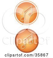 Set Of Two Orange Music Icon Buttons With Music Notes